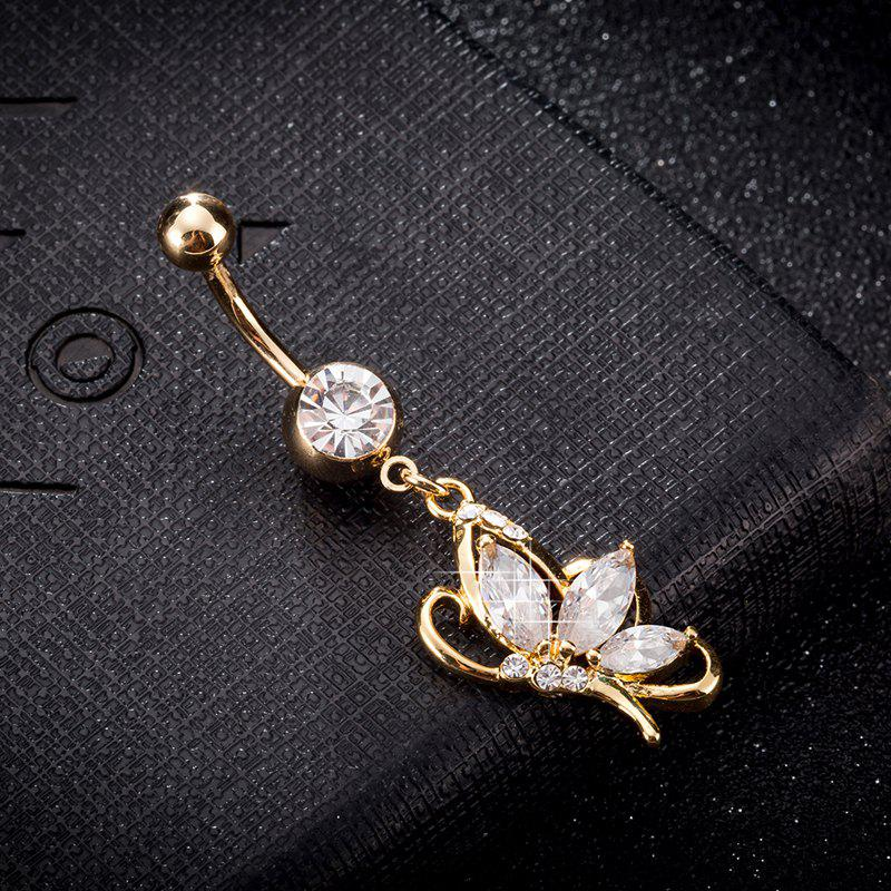 Elegant Butterfly Zircon Navel Ring P0240 - WHITE