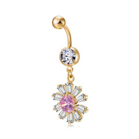 Blooming Petal Zircon Navel Ring P0241 - PINK