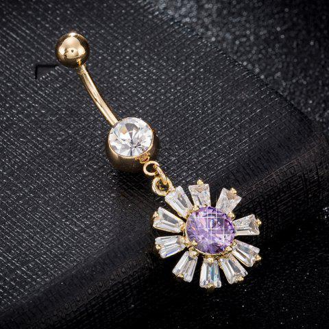 Blooming Petal Zircon Navel Ring P0241 - PURPLE