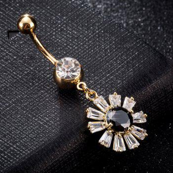 Blooming Petal Zircon Navel Ring P0241 - BLACK BLACK
