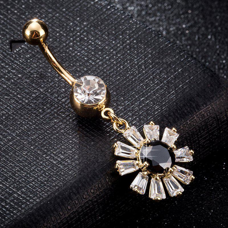 Blooming Petal Zircon Navel Ring P0241 - BLACK