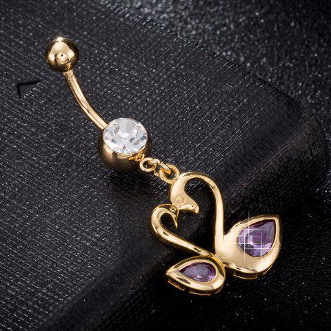 Love Swan CZ Navel Ring P0242 - PURPLE