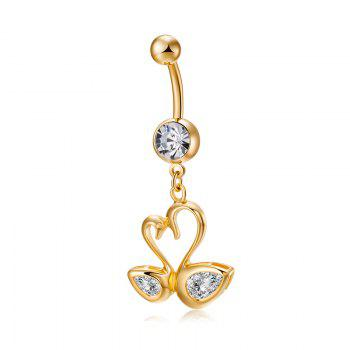 Love Swan CZ Navel Ring P0242 - WHITE WHITE