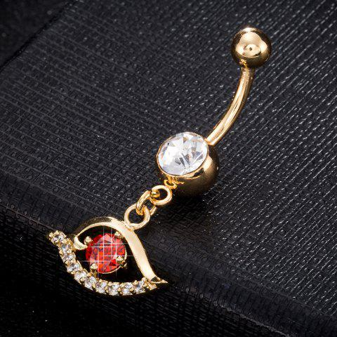 Pierced Eyes  Zircon Navel Ring P0243 - RED