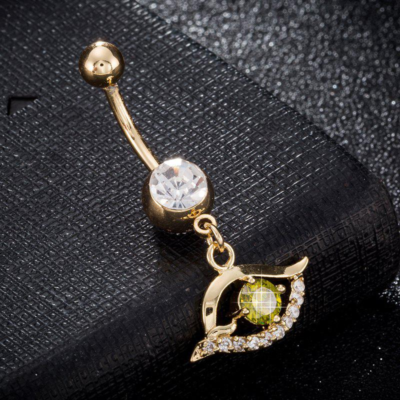 Pierced Eyes  Zircon Navel Ring P0243 - OLIVE GREEN