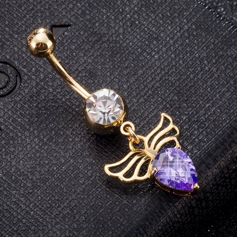 Angel Wings Zircon Navel Ring P0244 - PURPLE