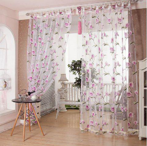 Peony European and American Flower Curtain Window Screen - PINK FLAT FRONT