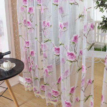 Peony European and American Flower Curtain Window Screen - PINK PINK