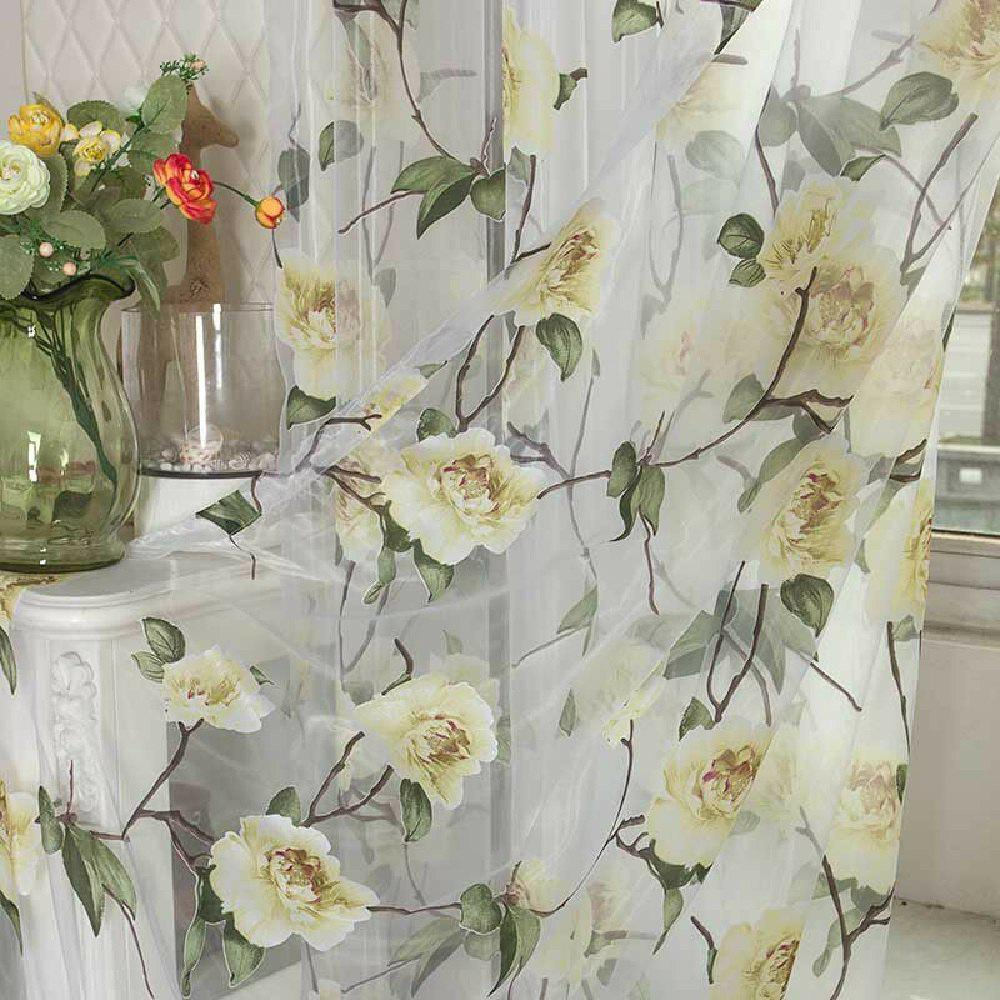 Peony European and American Flower Curtain Window Screen - YELLOW FLAT FRONT