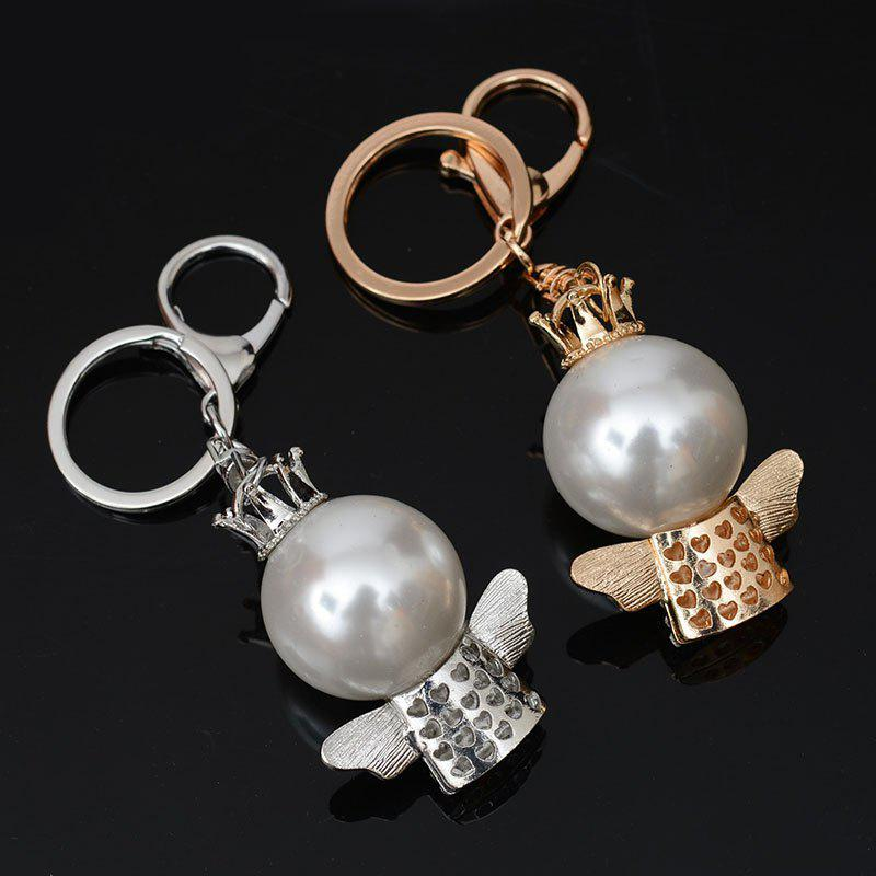 Fashion Great Pearl Ornament Set Auger Bag Buckles Auto Accessories Key Chain - GOLDEN SIZE S