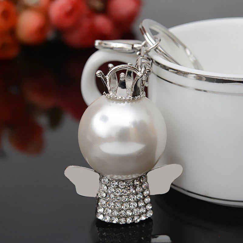 Fashion Great Pearl Ornament Set Auger Bag Buckles Auto Accessories Key Chain - SILVER SIZE S