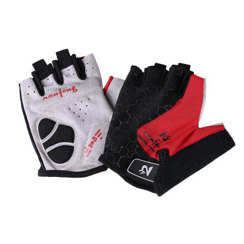 2017 New Half-Finger Bike Gloves Outdoor Cycling Gloves - RED L