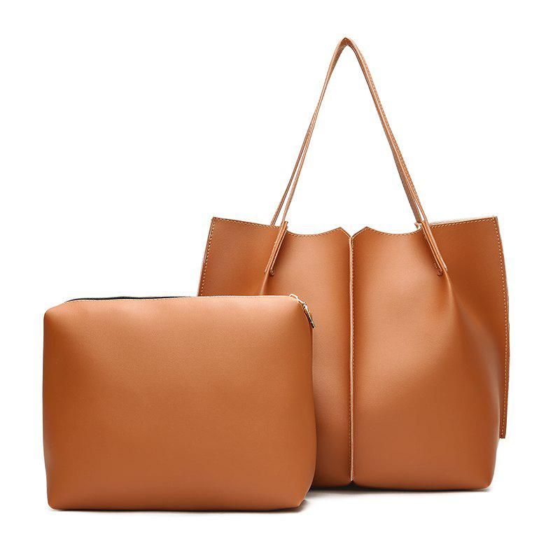 New Two-Piece Lash Bag Contracted Fashion One Shoulder Laptop Bag To Send To Hang His Female Bag - BROWN ANGEL