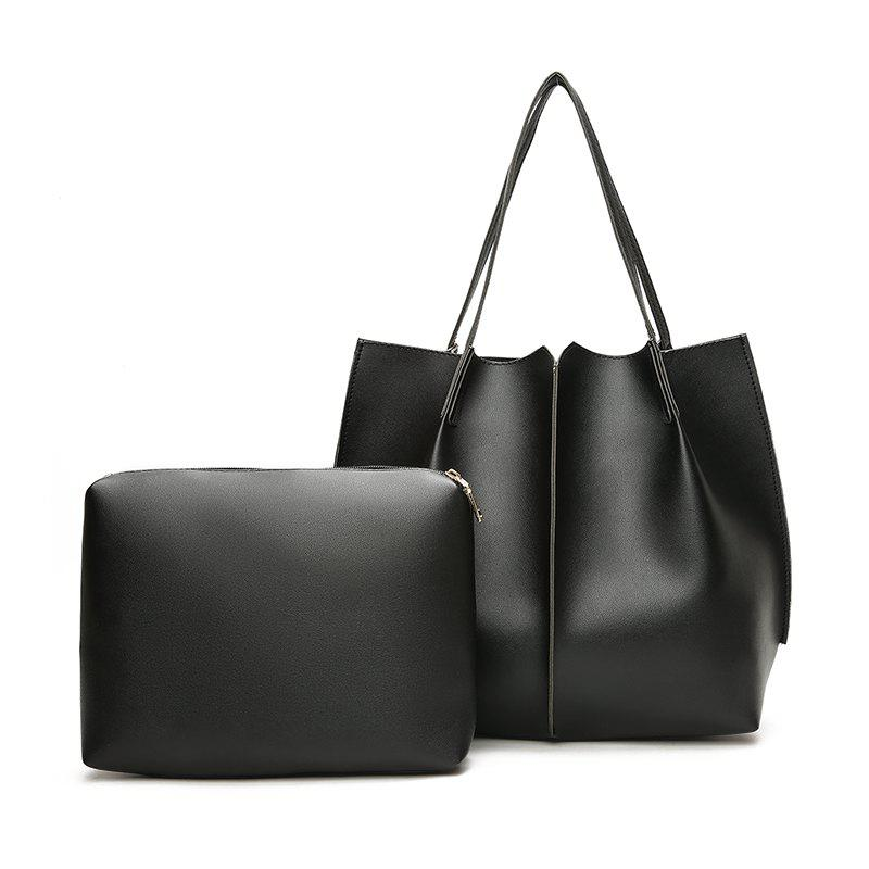 New Two-Piece Lash Bag Contracted Fashion One Shoulder Laptop Bag To Send To Hang His Female Bag - BLACK