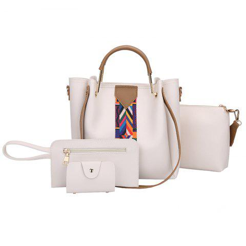 The New Fashion Ribbon of The Four-Piece Bag with A Simple Shoulder Slanted Shoulder Bag - BEIGE