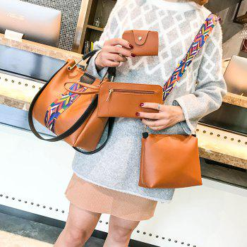 The New Fashion Ribbon of The Four-Piece Bag with A Simple Shoulder Slanted Shoulder Bag - BROWN ANGEL