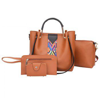 The New Fashion Ribbon of The Four-Piece Bag with A Simple Shoulder Slanted Shoulder Bag - BROWN - ANGEL BROWN ANGEL