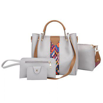 The New Fashion Ribbon of The Four-Piece Bag with A Simple Shoulder Slanted Shoulder Bag - GRAY GRAY
