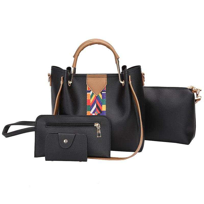 The New Fashion Ribbon of The Four-Piece Bag with A Simple Shoulder Slanted Shoulder Bag - BLACK