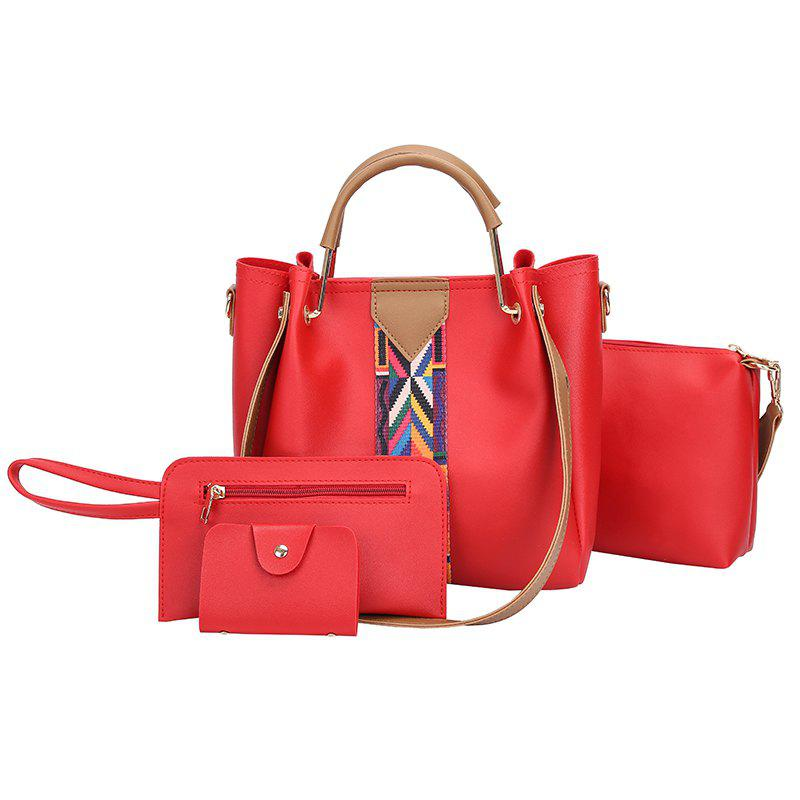 The New Fashion Ribbon of The Four-Piece Bag with A Simple Shoulder Slanted Shoulder Bag - RED