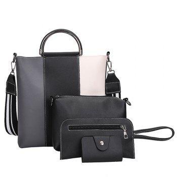 The New Color Band Collision Color Four-Piece Bag with Simple Fashion Single Shoulder Slanting Bags - GRAY GRAY