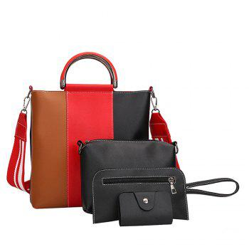 The New Color Band Collision Color Four-Piece Bag with Simple Fashion Single Shoulder Slanting Bags - BROWN - ANGEL BROWN ANGEL