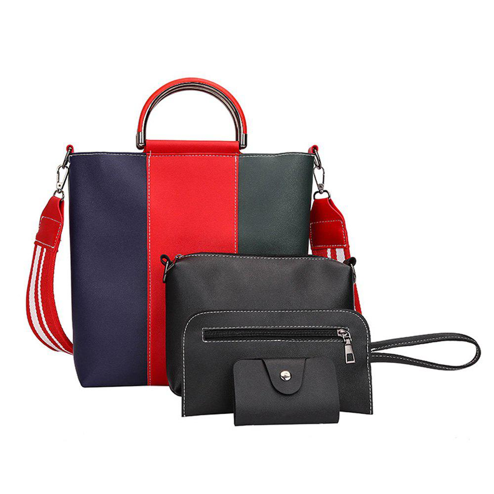 The New Color Band Collision Color Four-Piece Bag with Simple Fashion Single Shoulder Slanting Bags - IVY