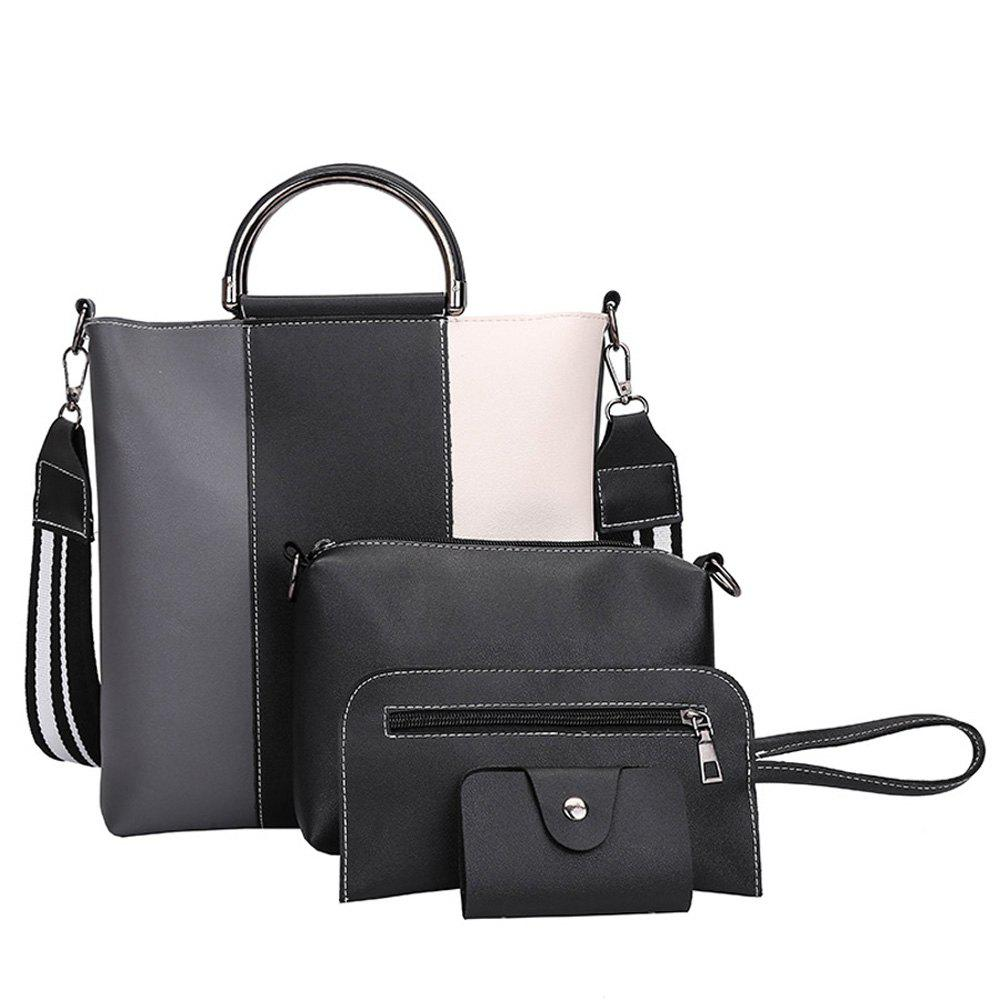 The New Color Band Collision Color Four-Piece Bag with Simple Fashion Single Shoulder Slanting Bags - GRAY