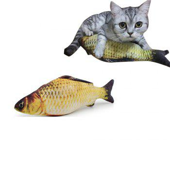 Catnip Toys Simulation Plush Fish Shape Doll Interactive Pets Pillow Chew Bite Supplies for Cat - COLORMIX