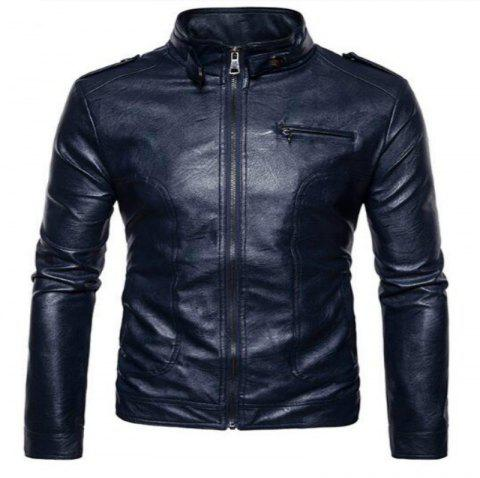 New Spring Fashionable Leather Jacket  PY04 - CADETBLUE M
