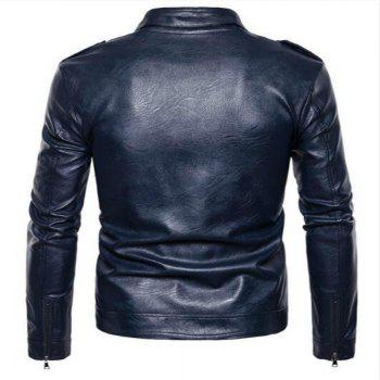 New Spring Fashionable Leather Jacket  PY04 - CADETBLUE L