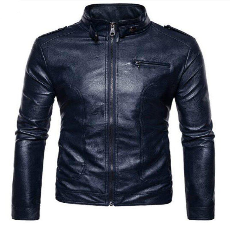New Spring Fashionable Leather Jacket  PY04 - CADETBLUE 2XL