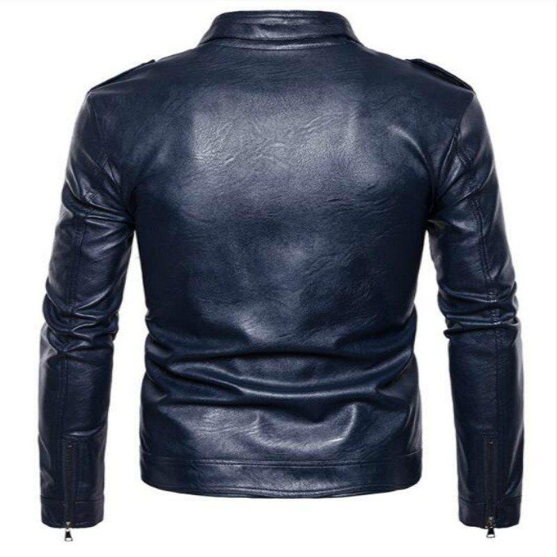 New Spring Fashionable Leather Jacket  PY04 - CADETBLUE S