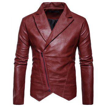 Men'S Fashion and Casual Zipper Personality Lapel Repair JacketPY23 - RED RED