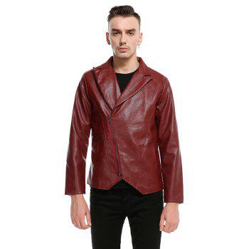 Men'S Fashion and Casual Zipper Personality Lapel Repair JacketPY23 - RED M
