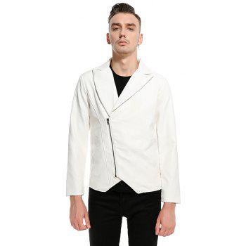 Men'S Fashion and Casual Zipper Personality Lapel Repair JacketPY23 - WHITE 2XL