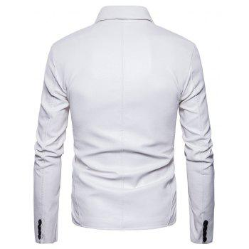 Men'S Fashion and Casual Zipper Personality Lapel Repair JacketPY23 - WHITE S