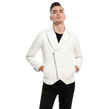 Men'S Fashion and Casual Zipper Personality Lapel Repair JacketPY23 - WHITE M