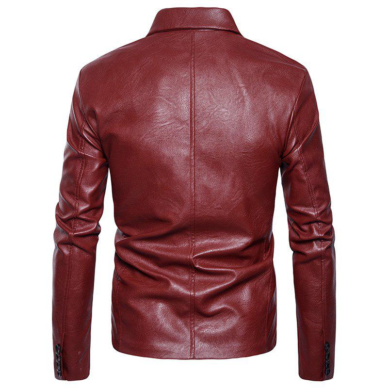 Men'S Fashion and Casual Zipper Personality Lapel Repair JacketPY23 - RED L