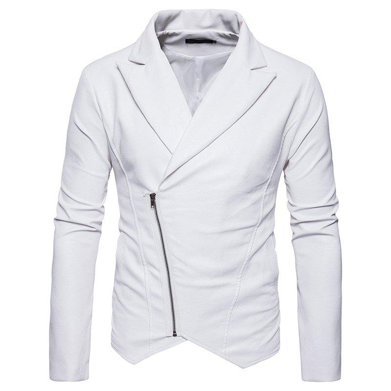 Men'S Fashion and Casual Zipper Personality Lapel Repair JacketPY23 - WHITE XL