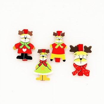 Red Christmas Deer and A Variety of Christmas Decorations Wooden Clip 20PCS - RED