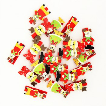 Red Christmas Deer and A Variety of Christmas Decorations Wooden Clip 20PCS - RED RED