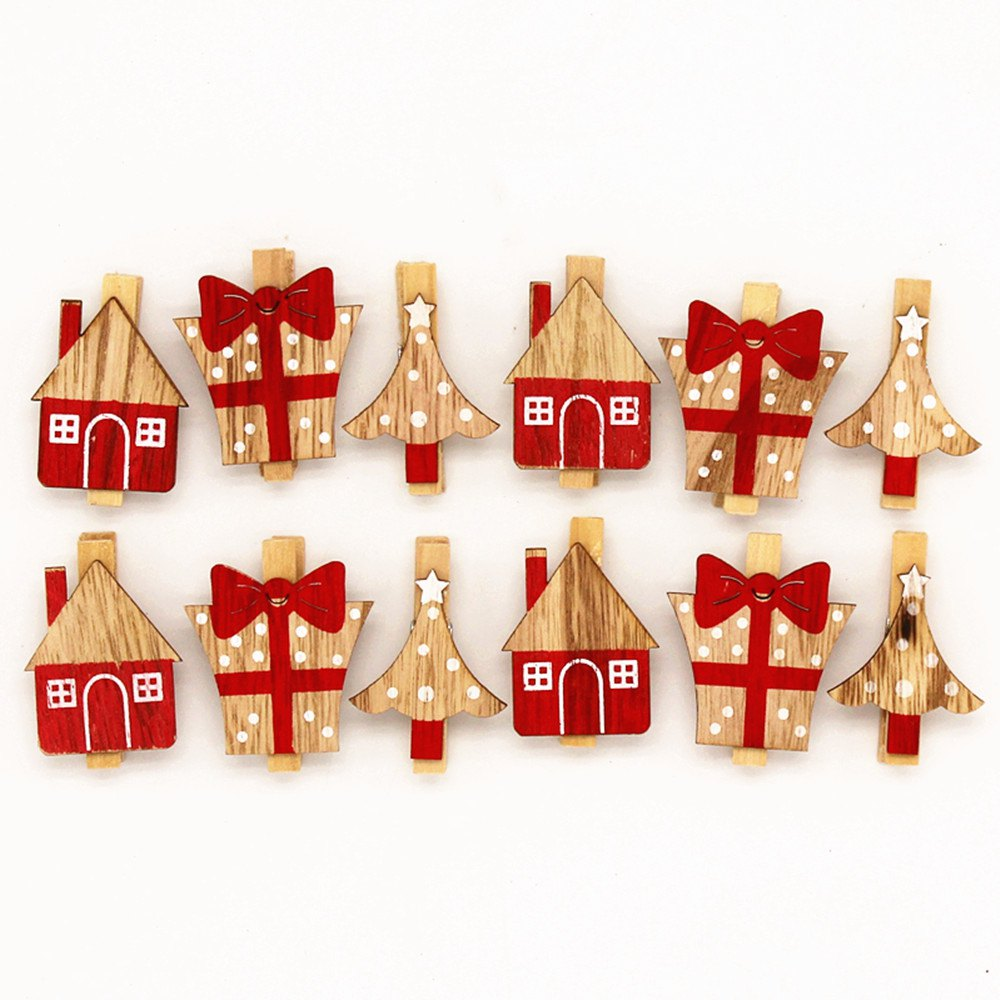 Vintage Color Christmas Decoration Wooden Clip Photo Clip 20PCS - RED/WHITE