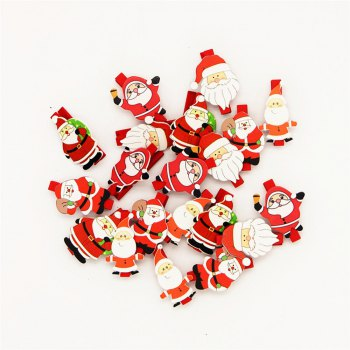 Christmas Variety Santa Claus Wooden Clip Christmas Decoration Wooden Clip 20PCS - RED RED