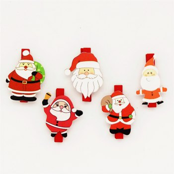 Christmas Variety Santa Claus Wooden Clip Christmas Decoration Wooden Clip 20PCS -  RED