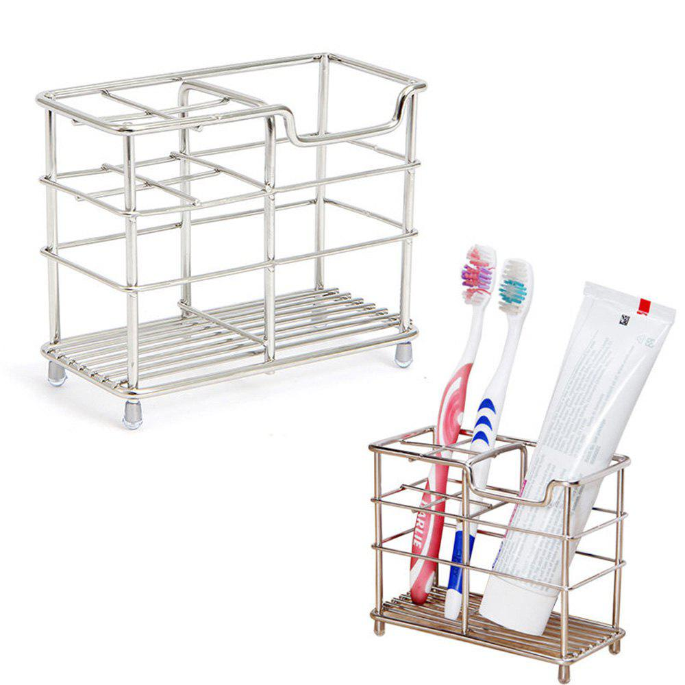 ORZ Stainless Steel Toothbrush Holder Toothpaste Razor Comb Stand Bathroom Organizer - SILVER 12.1 CM X 6 CM X 10 CM