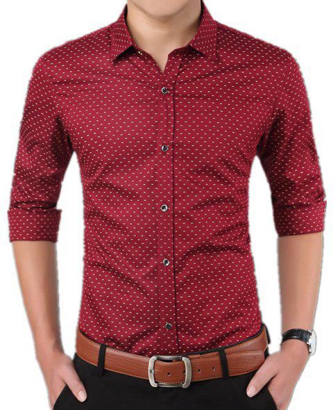 Men'S Casual Printed Shirt - RED L