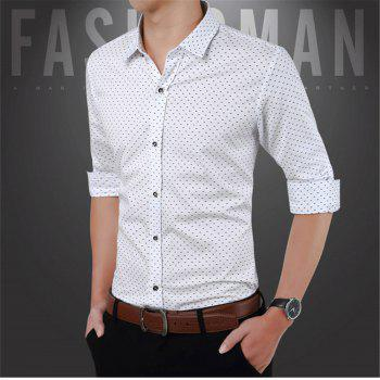 Men'S Casual Printed Shirt - WHITE 3XL