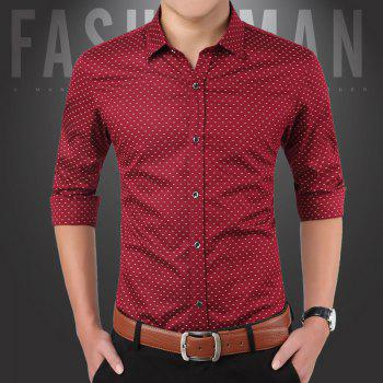 Men'S Casual Printed Shirt - RED XL