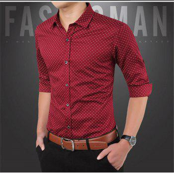 Men'S Casual Printed Shirt - RED M